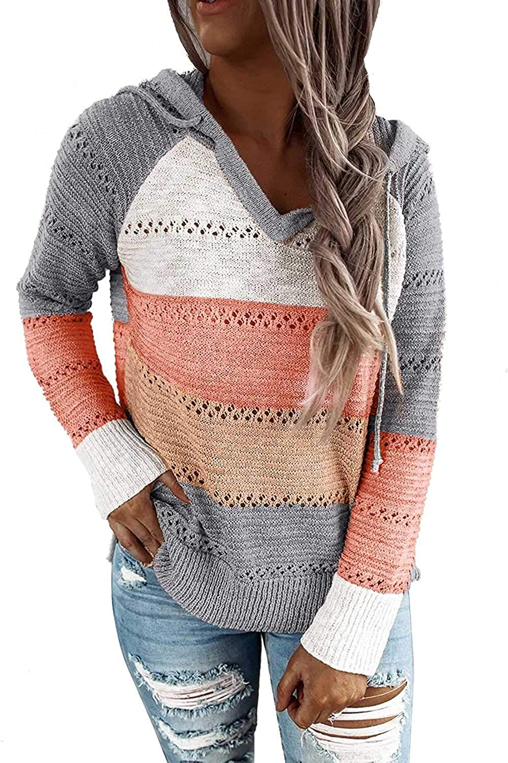 DidHaapin Women Causal Color Block Hoodie Sweater Lightweight V-Neck Pullover Long Sleeves Hollow Out Sweatshirts