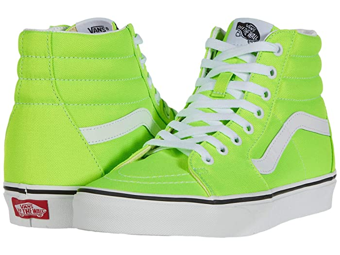 Vintage Sneakers, Retro Designs for Women Vans SK8-Hitm Neon Green GeckoTrue White Skate Shoes $52.99 AT vintagedancer.com