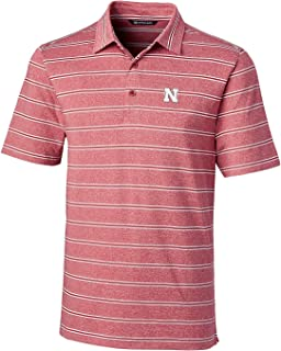 Cutter & Buck NCAA Nebraska Cornhuskers Mens Short Sleeve Heather Stripe Forge Polo, Cardinal Red, Large