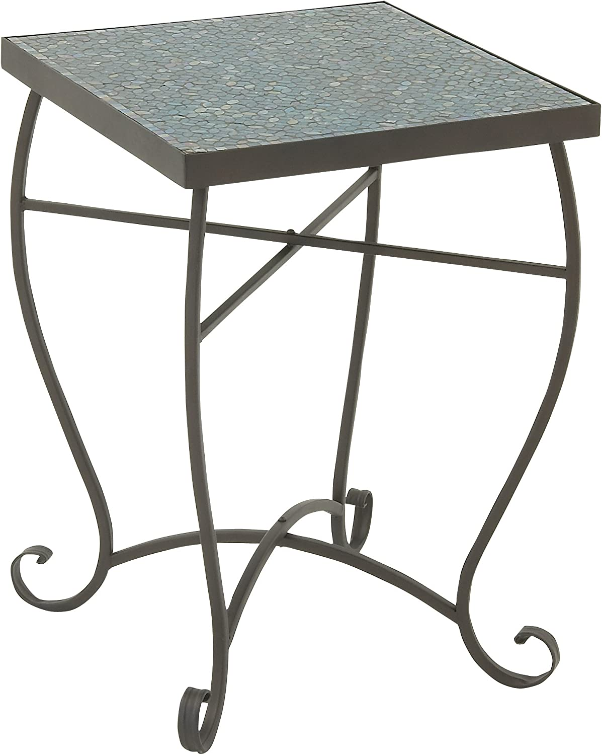 Deco 79 23987 Metal Mosaic Accent Table, 16  x 23 , Turquoise