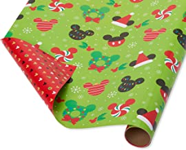 Papyrus Reversible Christmas Wrapping Paper, Mickey Mouse (1 Pack, 30 in. x 12 ft.)