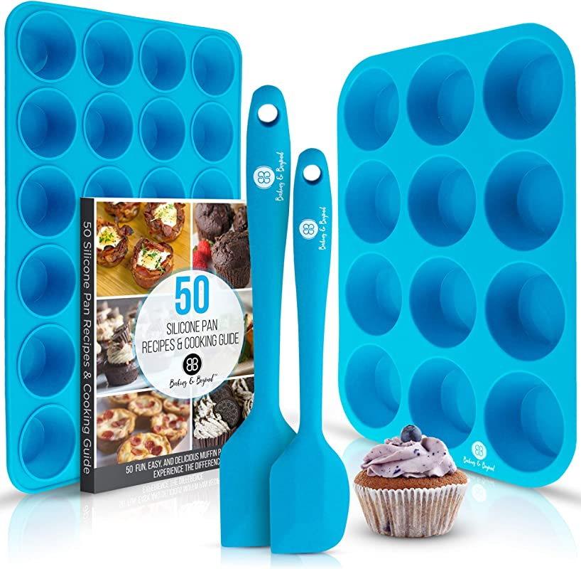 Baking Beyond Premium Silicone Muffin Pan Non Stick Silicone Cupcake Pan 12 Cup Muffin Tray 24 Cups Mini Cupcakes Pans Silicon Muffin Molds Silicone Baking Set 2 Spatulas Recipe E Book