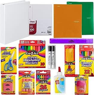 Back to School Supply Kit: Crayons, Markers, Pencils, Sharpener, Scissors, Ruler, Eraser, Filler Paper, Binder, Portfolios, Glue Sticks   First, Second, Third, Fourth, Fifth & Sixth Grade. (A1)
