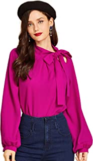 SheIn Women's Side Bow Tie Neck Long Sleeve Pullover Blouse Shirt Top