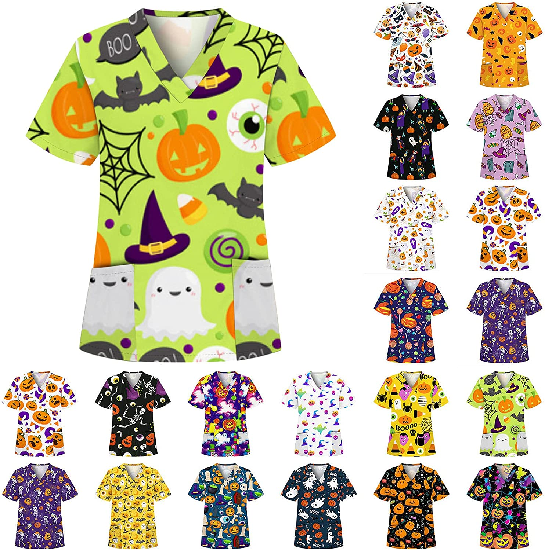 Women's Halloween Scrubs Tops Funny Pumpkin Ghost Print Workwear Shirts with 2 Pockets V-Neck Sleeve TShirt Working Uniform