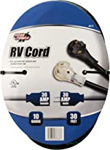 Coleman Cable 95707508 Black 10/3 STW Amp RV Extension, Heavy Duty, Waterproof Cord, Suitable for Mobile Homes and Recreational Areas, 30-Feet, UL & cUL Listed, TT-30 Lighted Plug