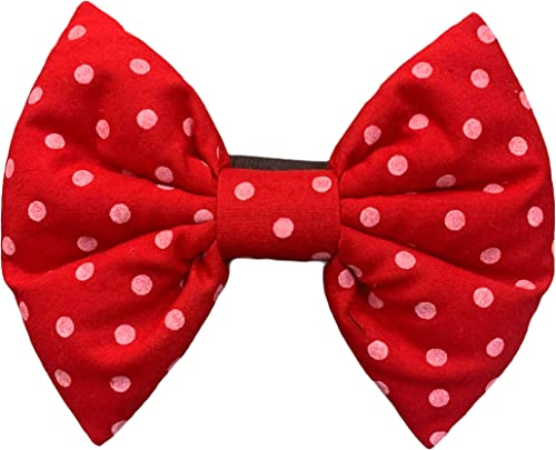For The Fur Kids Polka Dots Dog Bow Tie: Cute Polka Bow Tie for Pets with Adjustable Strap, Dog Accessory (Red)