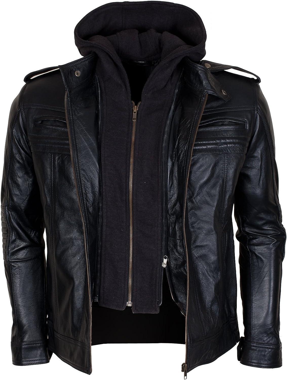 Detachable Hood Mens Black Genuine Leather AJ Biker Styles Jacket