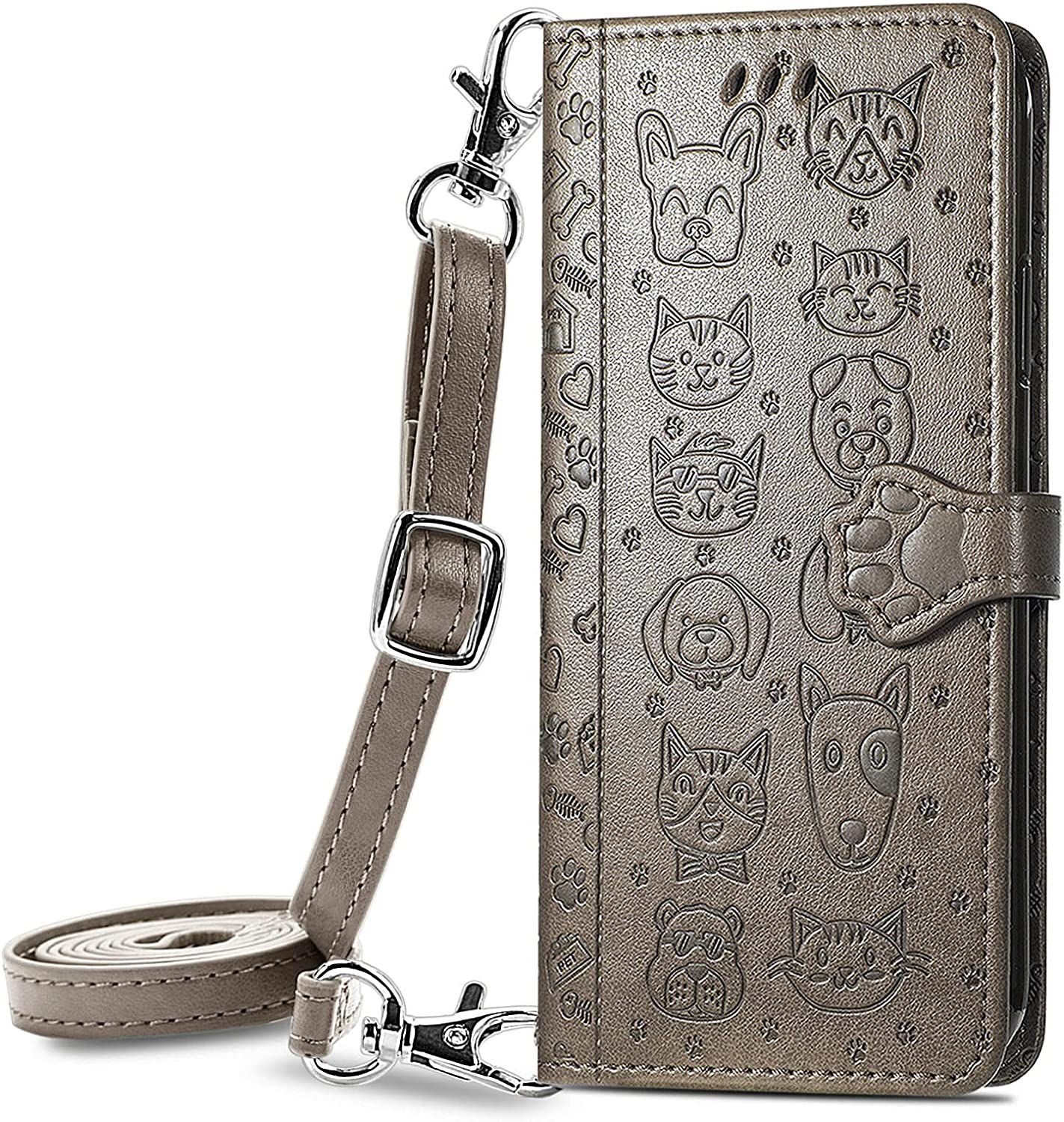 DAMONDY for Galaxy A32 5G Case,3D Cute Cat Wallet Card Holder Lanyard Neck Crossbody Detachable Strap Protective Flip Slim Cover Soft PU Leather Clasp for Samsung A32 5G -Grey