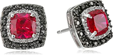 Jewelili Sterling Silver 6mm Cushion Gemstone with Black and White Diamond Accents Stud Earrings