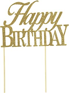 All About Details Gold Happy-birthday Cake Topper, New, .