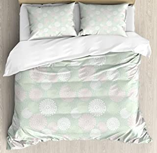 Ambesonne Mint Duvet Cover Set, Dahlia Flowers in Pastel Tones Spring Blooms Theme Floral Pattern, Decorative 3 Piece Bedding Set with 2 Pillow Shams, Queen Size, Pale Mint