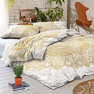 Sophia-Art Juego de funda de edredón Doona con diseño de mandala, diseño de mandala bohemio con dos fundas de almohada (dorado)
