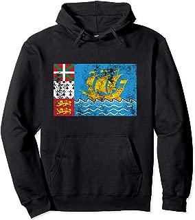 Saint Pierre & Miquelon France Distressed Flag Retro Vintage Pullover Hoodie