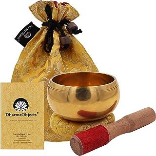 DharmaObjects Medium ~ Tibetan OM MANI Singing Bowl Set ~ With Mallet Brocade Cushion & Carry Bag ~ For Meditation Chakra ...