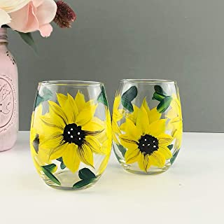 Hand Painted Sunflower Floral Wine Glass Gift, Set of 2, Artisan Hand Painted Wine Glasses, Gift for Women, Sunflower Wine Glass Gift