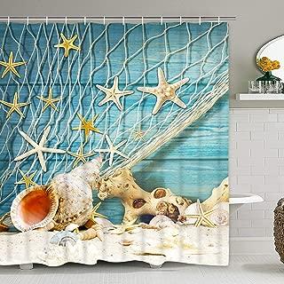 Krelymics Seashell Starfish Shower Curtain with 12 Hooks, Nautical Sea World Conch Fishing Nets Shower Curtain for Bathroom