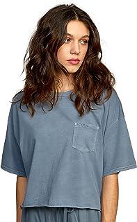 RVCA Women's PTC Cropped Pigment Dye Short Sleeve Tee Shirt