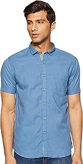 CHEROKEE Men's Solid Regular fit Casual Shirt (400020220356_Md-Blue L)