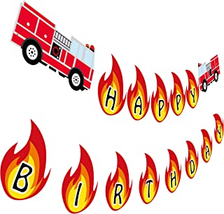 Firetruck Birthday Banner, Fireman Happy Birthday Party Sign, Fire Engine Rescue Bday Decoration