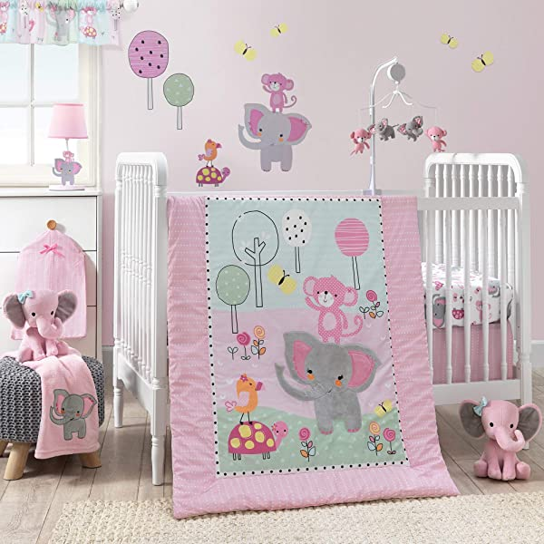 Bedtime Originals Twinkle Toes Jungle Elephant 3 Piece Bedding Set Pink White