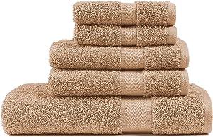 5 Piece Beige Bath Towel Set, 100% Combed Cotton Towels, Shower Towel, 600 GSM Luxury Bath Towels, Plush and Absorbent Bathroom Towel Set, (1 Bath Towel 2 Hand Towels 2 Washcloths) - Beige