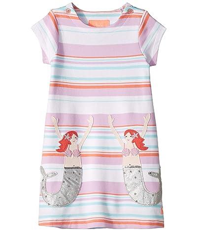 Joules Kids Kaye Short Sleeve Dress (Toddler/Little Kids/Big Kids) (Cream Stripe Mermaid) Girl