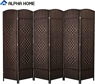 ALPHA HOME 6 Panel Room Divider - 6 FT Tall Extra-Wide Handcrafted Weave Wood Framed Folding Privacy Screen Diamond Pattern