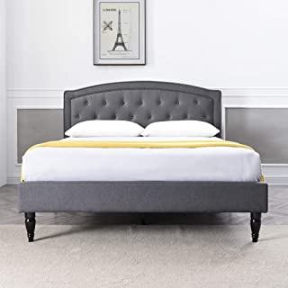 Classic Brands DeCoro Wellesley Upholstered Platform Bed | Headboard and Metal Frame with Wood Slat Support | Grey, King