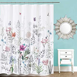Dosly home Flowers Colorful White Shower Curtain with 12 Hooks for Bathroom,Embroidery Butterfly,Farmhouse and Rustic Large Floral Curtains,Waterproof