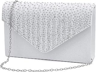 Brinny Damen Clutch mit Strass-Steinen Elegante Kettentasche Abendtasche Unterarmtasche Umhängetasche Crossbody Damen Tasc...