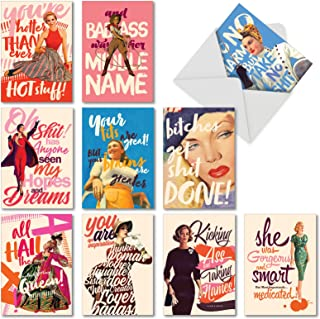 O+D Power Girls - 10 Boxed All Occasion Greeting Cards with Envelope (4.63 x 6.75 Inch) - Assorted Blank Note Card Set for Women - Retro Girl Power, Stationery Notecard AC6682OCB-B1x10