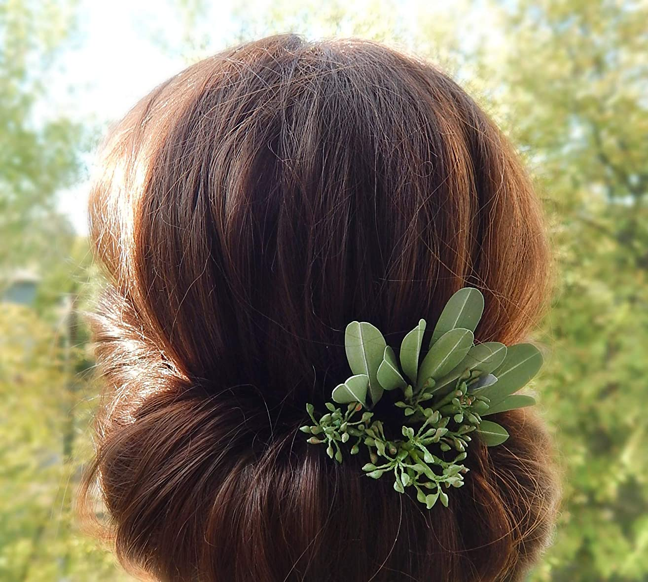 Green Hair Pins Set of 6 with Olive Leaves and Eucalyptus Greenery Wedding Hairpiece Handmade
