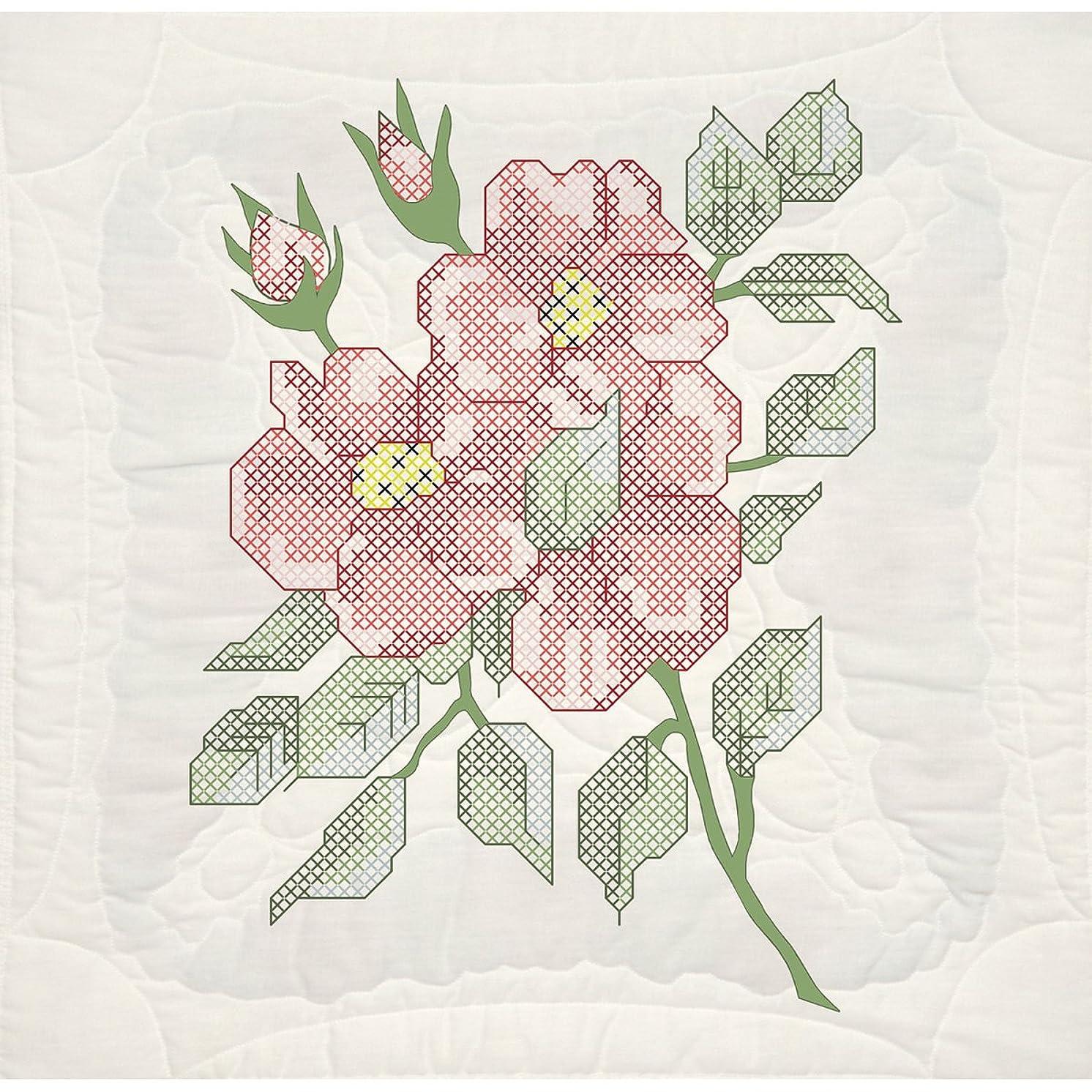 Fairway 95105 Quilt Blocks, Wild Roses Design, White, 6 Blocks Per Set