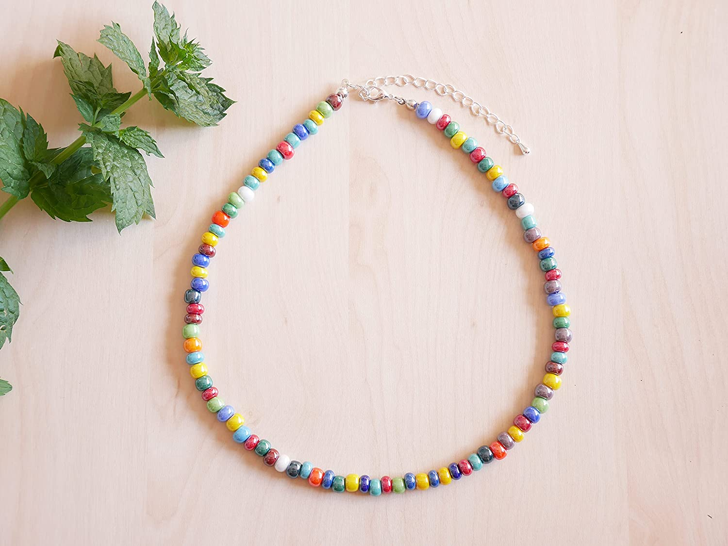 Glossy colorful Nippon regular agency beaded necklace - glass with 40% OFF Cheap Sale bea silver