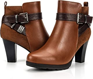 Women's Zipper Bootie Chunky Stacked Heel Ankle Boots...