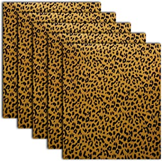 Leopard Patterned Metallic Heat Transfer Vinyl Iron On Animal Prints Foil HTV Bundle for T Shirts, 12x10 Inch, Pack of 5 Sheets