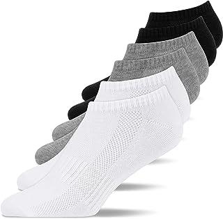 Snocks, Calcetines Tobilleros Mujer Deporte Negro (6x) Calcetines Cortos Mujer Blanco Paquete de 6 Multicolor Tamaño 39-42 Calcetines Mujer Algodón Deportivas