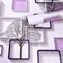 Wolpin Wall Stickers DIY Wallpaper (45 x 500 cm) 3D Frames and Trees Self Adhesive Decals Living Room Home Interior Decora...