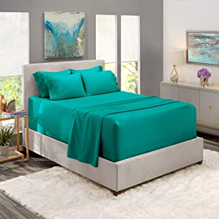 Nestl Extra Deep Pocket Sheets 6 Piece Teal Deep Pocket Queen Size Sheets Set - Hotel Ultar Deep Bed Sheet- Extra Deep Fitted Sheet Set - Super Deep Sheets fits 18 Inch to 24 Inches Mattress - 6 Piece
