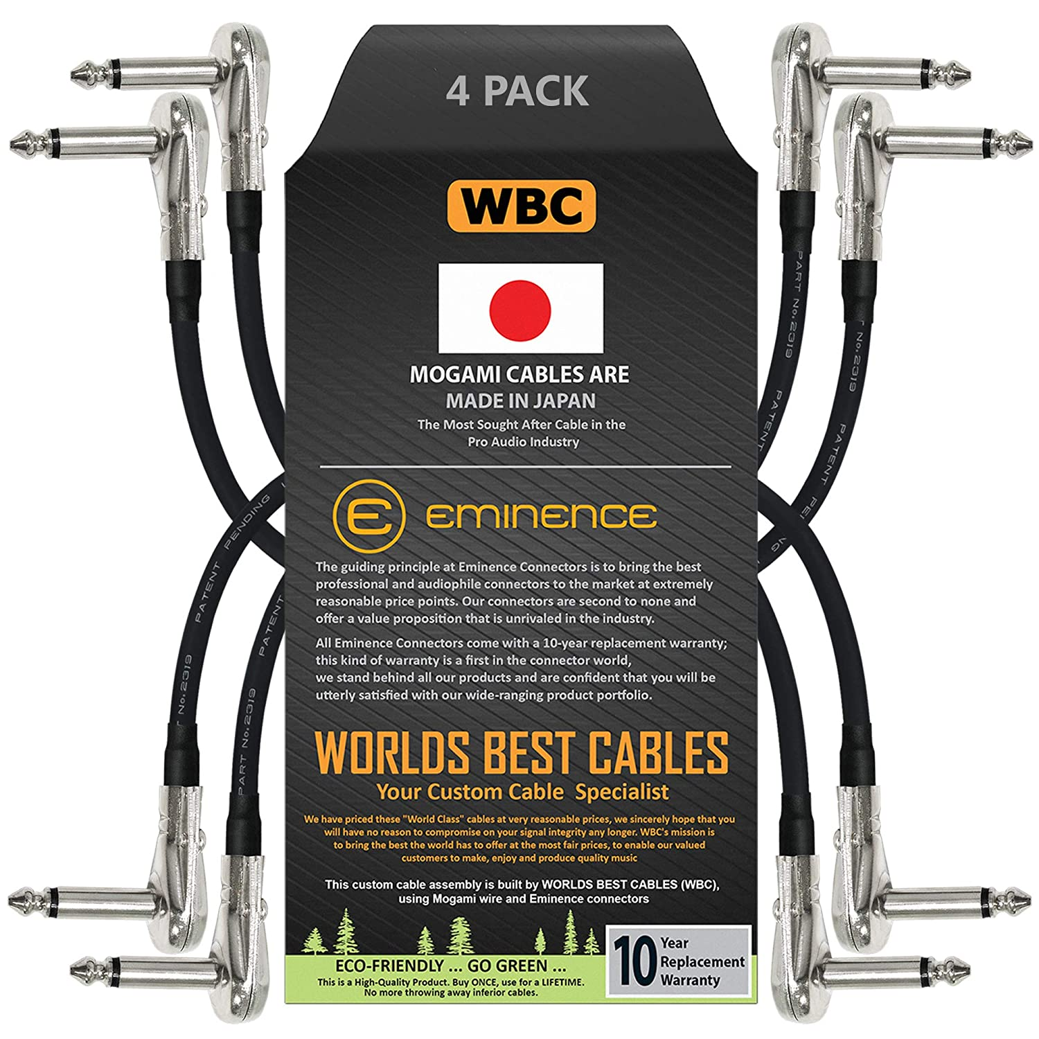 4 Units - 6 Inch Pedal Instrument Dealing full Ranking TOP2 price reduction Custo Cable Effects Patch