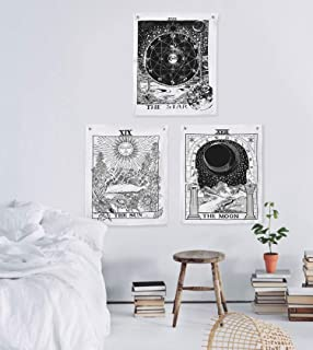 Madhu International Tarot Tapestry The Moon The Star The Sun Tapestry Hippie Cotton Printed Handmade Wall Hanging Mysterious Wall Tapestries With Steel Grommets (Pack of 3, 20