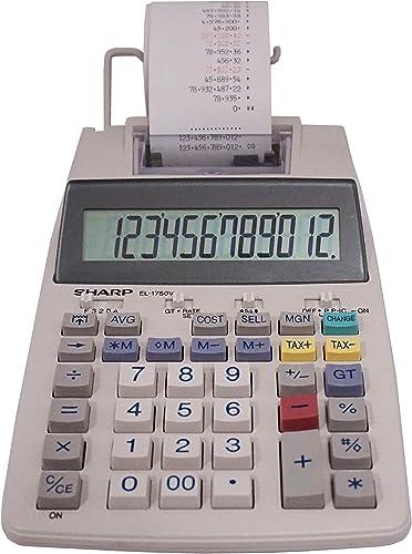 "Sharp EL-1750V Two-Color Printing Calculator 2 Lines/Sec 3"" Black/Red"