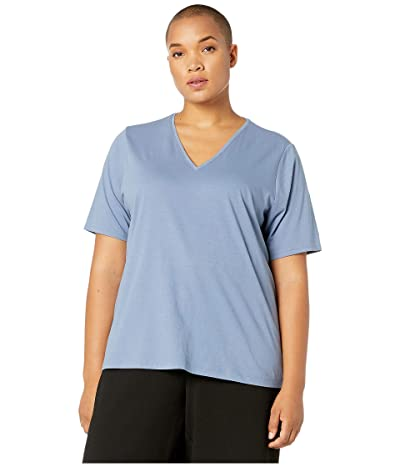 Eileen Fisher Plus Size Organic Cotton Jersey V-Neck Short Sleeve Top (Chambray) Women