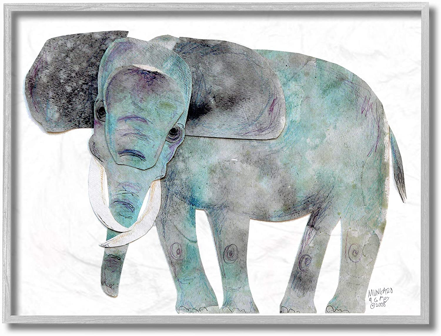 The Stupell Home Decor Watercolor Cutout Collage Elephant Framed Giclee Texturized Art, Multicolor