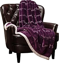 Chanasya Warm Hugs Positive Energy Healing Thoughts Super Soft Sherpa Microfiber Comfort Caring Violet Purple Gift Throw Blanket - Get Well Soon Gift for Women Men Cancer Patient - Aubergine Blanket