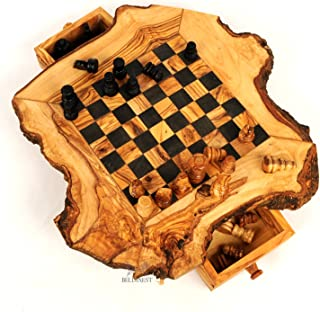 BeldiNest Olive Wood Chess Set Wooden Chess Board Rustic