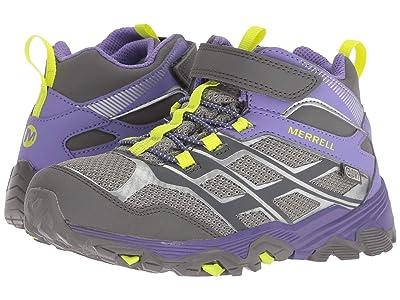 Merrell Kids Moab FST Mid A/C Waterproof (Little Kid) (Grey/Purple) Girls Shoes