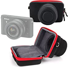 DURAGADGET Black and Red Form Fitting Protective Body Case - Suitable for Nikon 1 J1 Camera, with Elastic Belt Loop