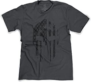 e668dcec T and T Clothing Military Spartan Helmet American Flag Distressed USA Pride  T-Shirt